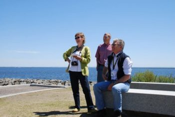 At the viewing circle: Left to right, Lorraine Flanigan, Werner Schwar and Paul Fayrick. Photo: Kathy Walkinshaw