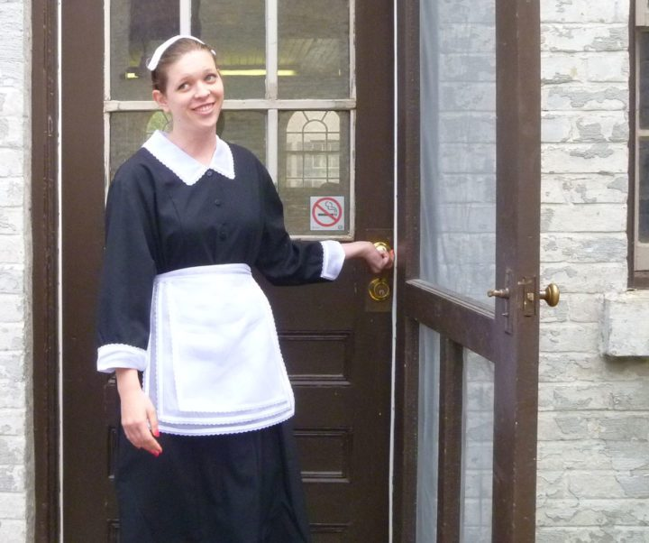 Jessie the maid quickly showed the new gardeners to the back door!