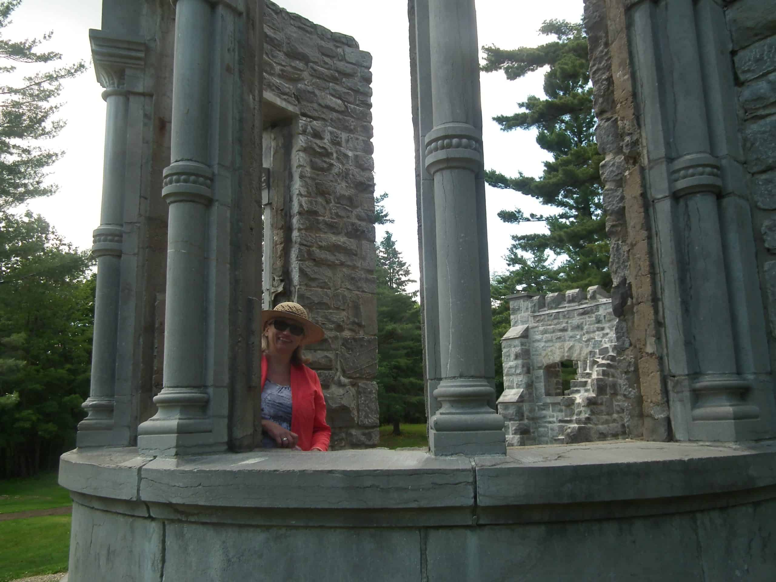 Landscape architect Dorota Grudniewicz demonstrates the view from the ruins, which is on an axis with Ottawa's Peace Tower.