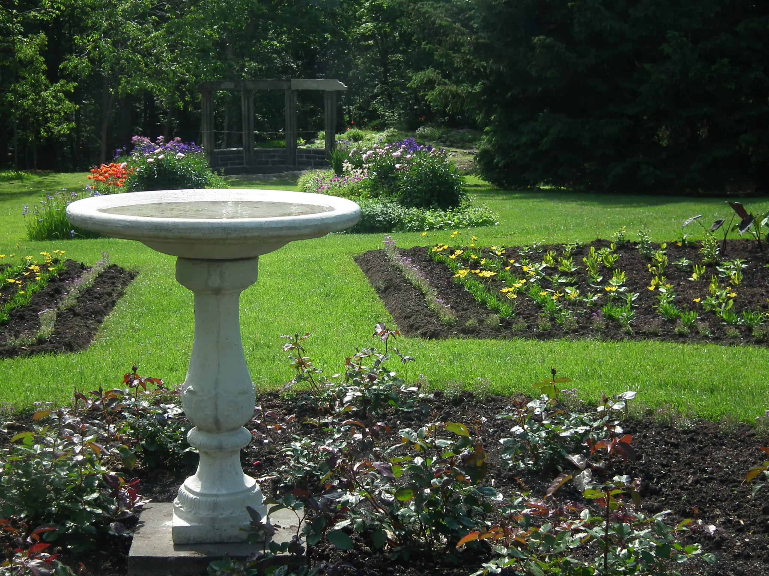 A birdbath was one of three elements King used in all his landscapes, along with a sundial and a flag.
