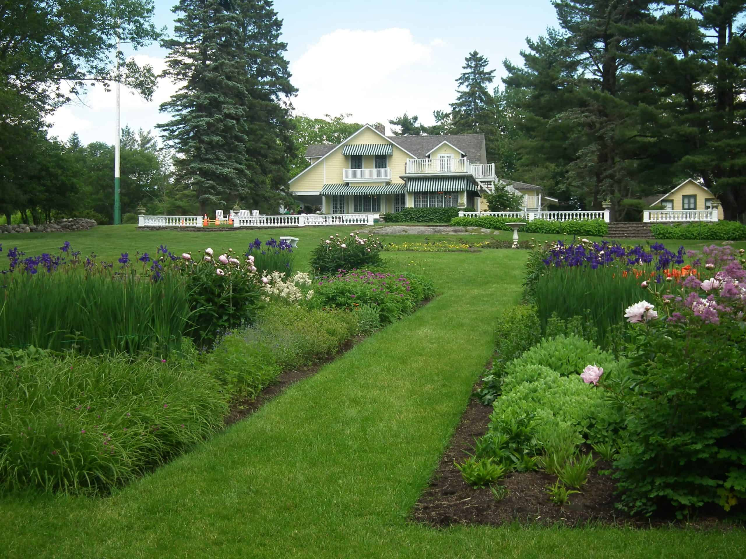 The view from the perennial borders to the Moorside residence.
