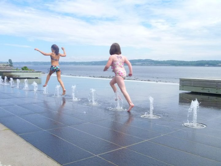 The bubblers along the Promenade Samuel de Champlain are a popular spot to cool off on a hot summer's day.