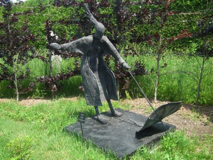 "Kingsbrae hosts an annual sculpture competition that features a diverse collection, including ""Windy Day"" by Bozena Happach."