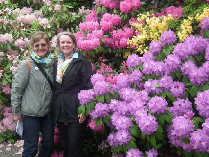 Lorraine Flanigan (left) with Garden Director Liz Klose in front of the magnificent display of rhododendrons.