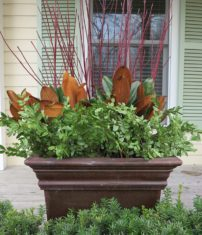 A layered look for winter, using branches of red-twig dogwood, southern magnolia and huckleberry. Boxwood would be a good substitute for the huckleberry. The container is viewed only from the front. (Garden Making photo)