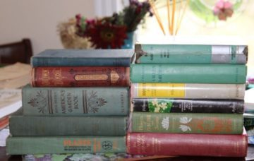 Well-used — and loved — vintagegardening books. (Photo by Jodi DeLong)