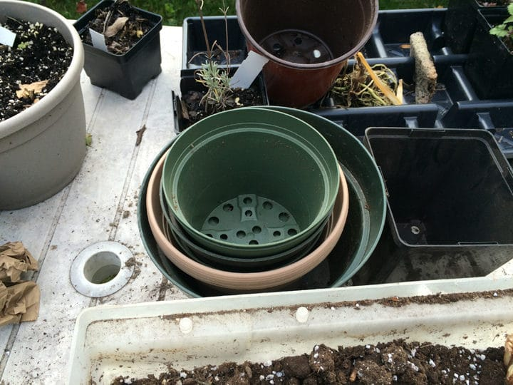 Gather a few old plastic pots.