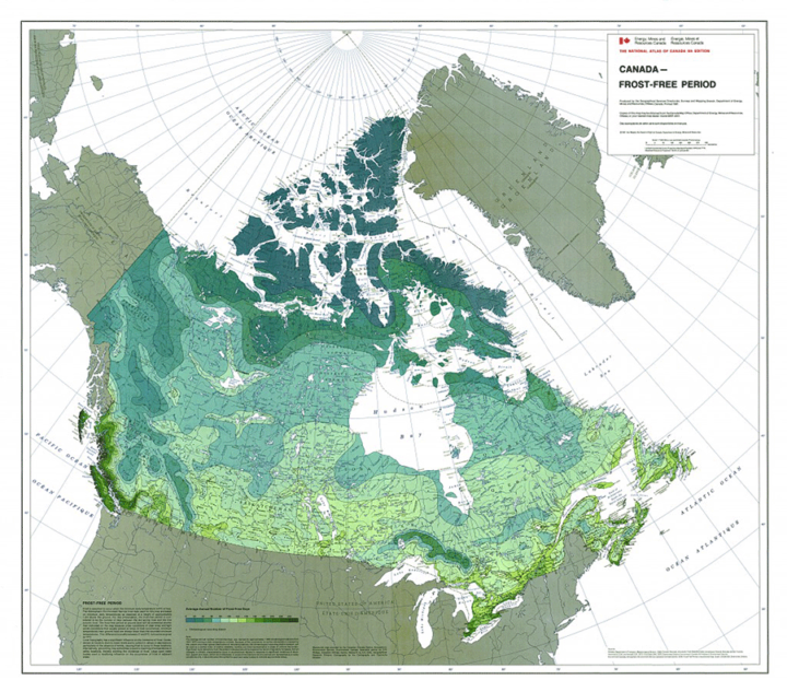 This map from 1981 shows the ranges of the average frost-free days in Canada.