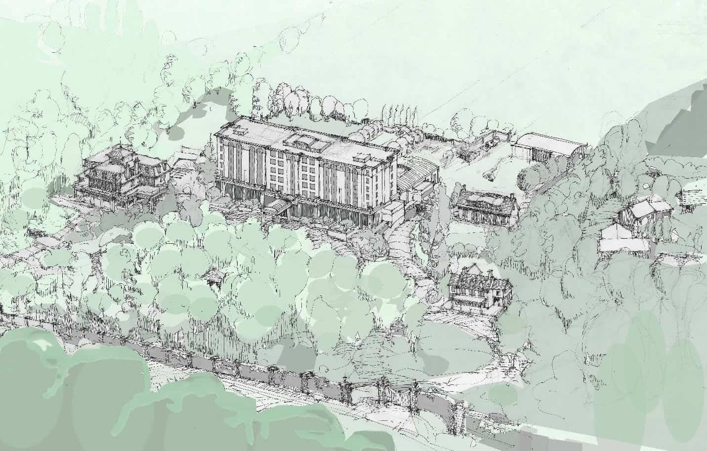Artist rendering of Two Sisters Resort proposed to be imposed on Randwood Estate in Niagara-on-the-Lake, Ontario.