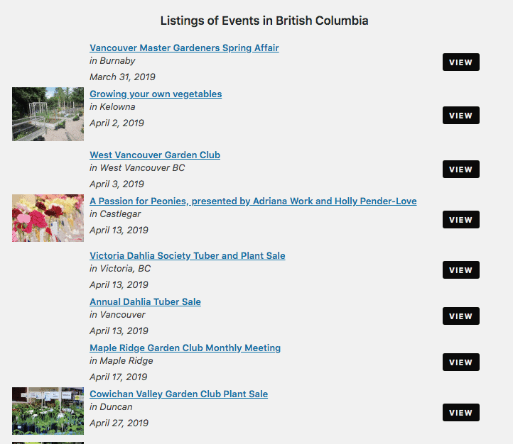 Events listing BC sample