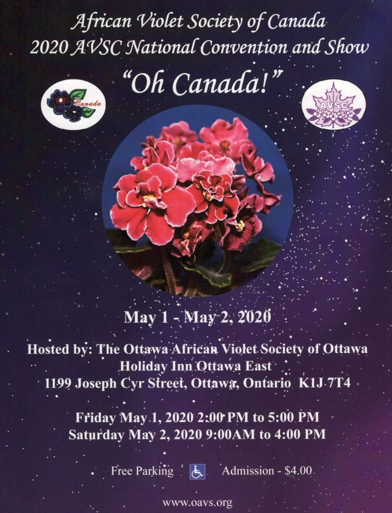CANCELLED: 2020 African Violet Society of Canada National Convention and Show