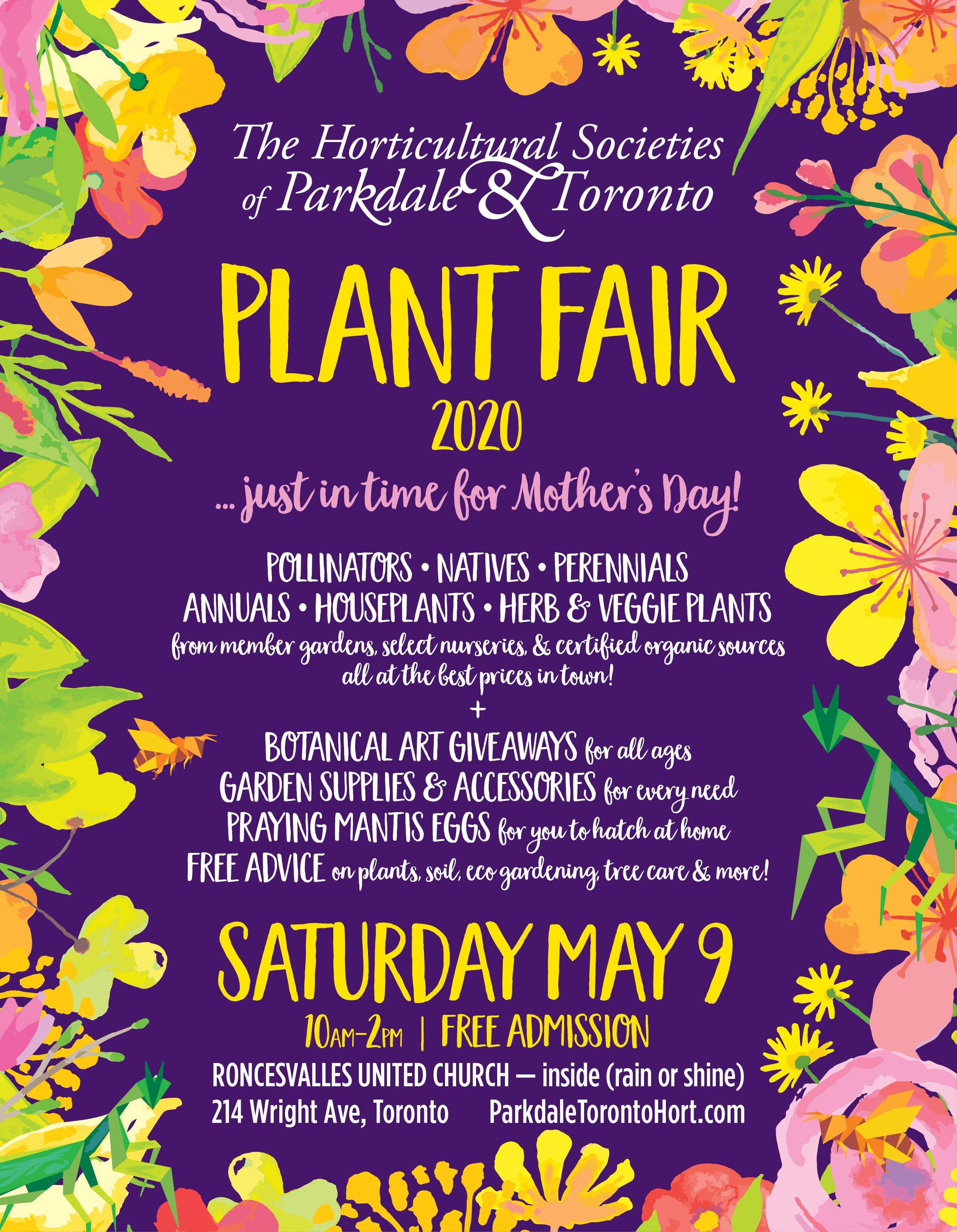 Plant Fair 2020: Parkdale & Toronto Horticultural Societies